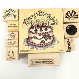 Happy Birthday Wood Mounted Rubber Stamps 10